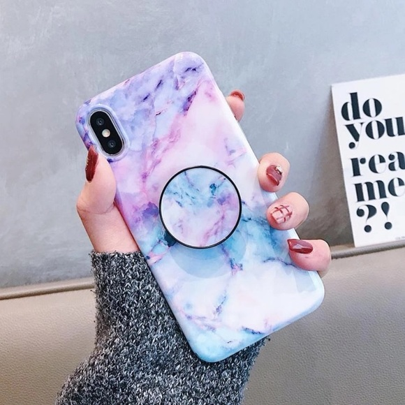 super popular 74942 b592a NEW! iPhone X Marble Case With Popsocket Boutique